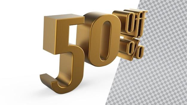 Liczba 50 złotych renderowania 3d