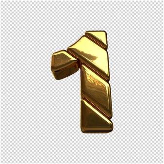 Liczby wykonane ze sztabek złota. 3d numer 1