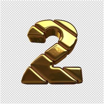 Liczby wykonane ze sztabek złota. 3d numer 2