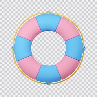 Life bouy ikona na białym tle renderowanego obrazu 3d