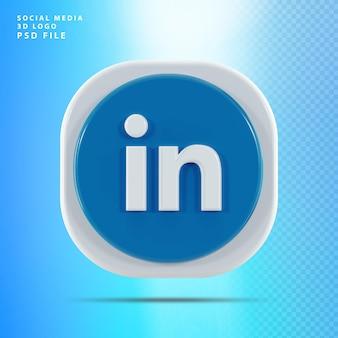 Linkedin icon 3d kształt renderowania