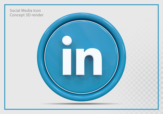 Linkedin icon 3d render nowoczesny