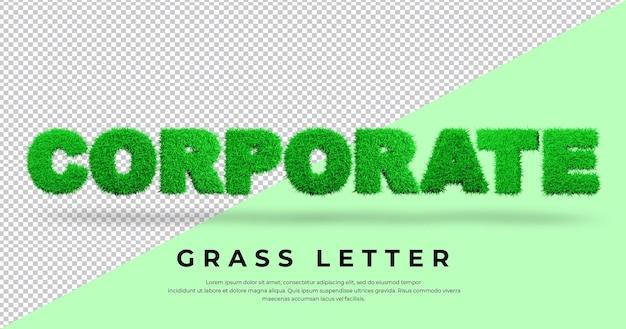 List firmowy z trawą 3d