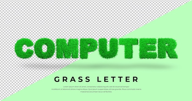 List komputerowy z projektem trawy 3d