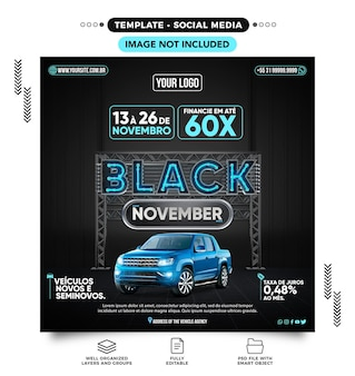 Listopadowy czarny kanał nowych i używanych pojazdów w brazylii