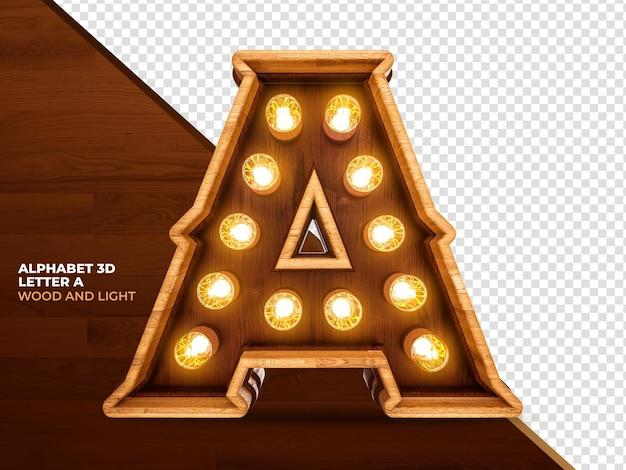 Litera 3d renderowanego drewna z realistycznymi światłami