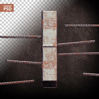 Litera 3d ze spawanych rur metalowych grunge
