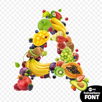 Litera a, symbol czcionki owocowej