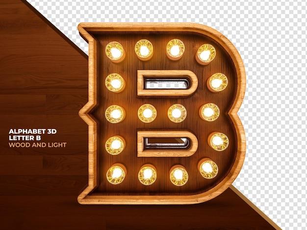 Litera b 3d render drewna z realistycznymi światłami