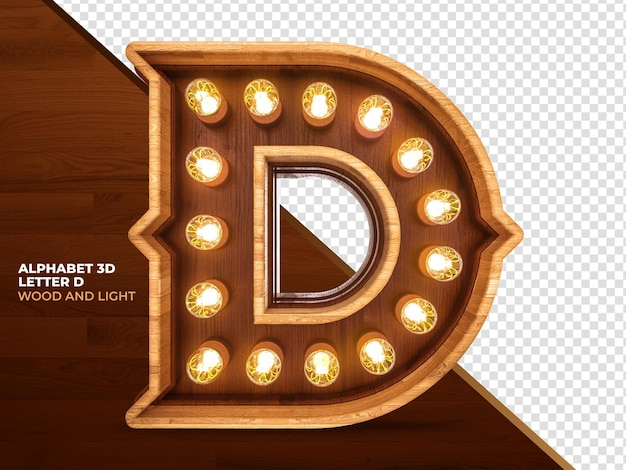 Litera d 3d render drewna z realistycznymi światłami