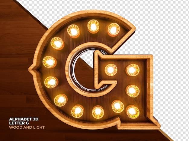Litera g 3d render drewna z realistycznymi światłami