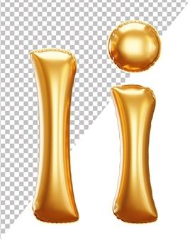 Litera i złoty alfabet balonu foliowego w stylu 3d wielkie i małe litery