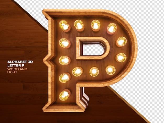 Litera p 3d render drewna z realistycznymi światłami
