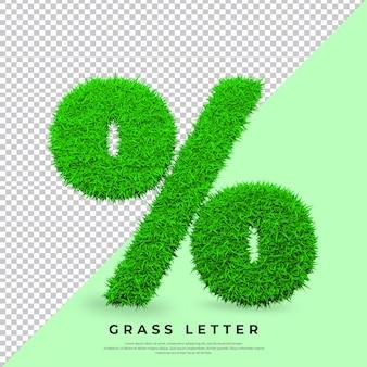 Litera procentu w 3d trawa na białym tle