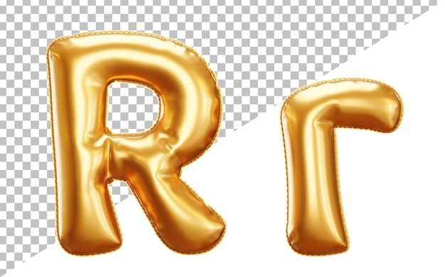 Litera r alfabet z balonu złotej folii w stylu 3d wielkimi i małymi literami