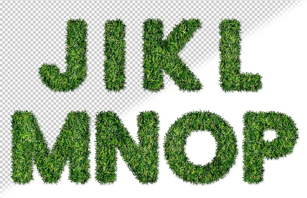 Litery alfabetu trawy ustawione od m do p