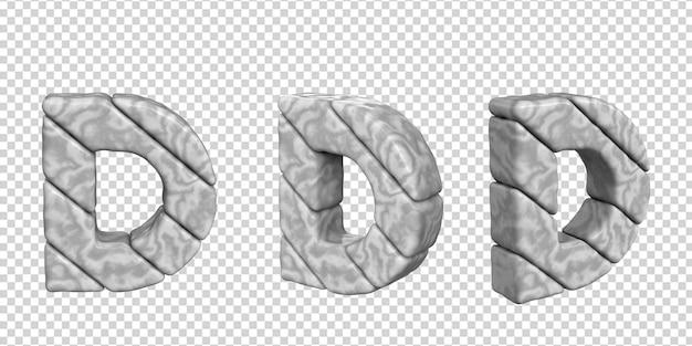 Litery wykonane są z marmuru pod różnymi kątami na przezroczystym tle. 3d litera d