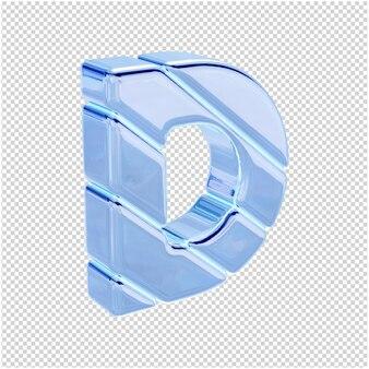 Litery wykonane są z niebieskiego lodu, zwrócone w prawo. 3d litera d