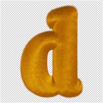Litery wykonane są z rudego futra. 3d litera d