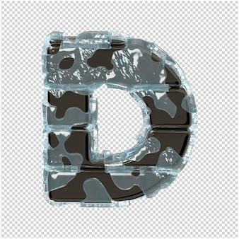 Litery wykonane z metalu w lodzie. 3d wielka litera d