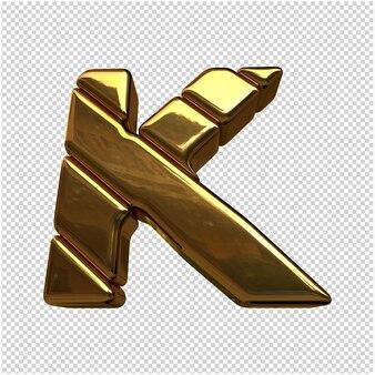 Litery wykonane ze sztabek złota. 3d litera k
