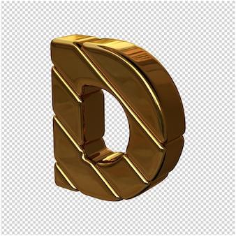 Litery ze sztabek złota zwrócone w lewo na przezroczystym tle. 3d wielka litera d