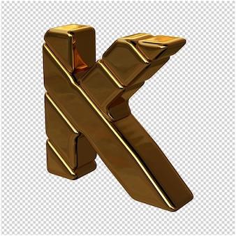 Litery ze sztabek złota zwrócone w lewo na przezroczystym tle. 3d wielka litera k