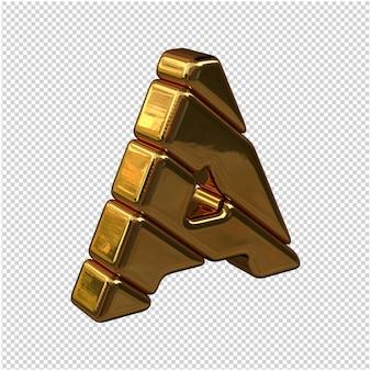 Litery ze sztabek złota zwrócone w prawo na przezroczystym tle. 3d wielka litera a