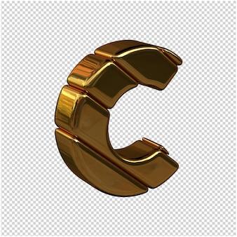 Litery ze sztabek złota zwrócone w prawo na przezroczystym tle. 3d wielka litera c