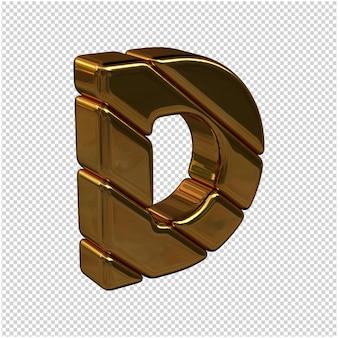 Litery ze sztabek złota zwrócone w prawo na przezroczystym tle. 3d wielka litera d