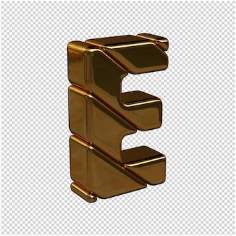 Litery ze sztabek złota zwrócone w prawo na przezroczystym tle. 3d wielka litera e