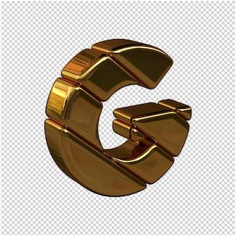 Litery ze sztabek złota zwrócone w prawo na przezroczystym tle. 3d wielka litera g