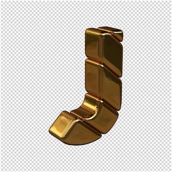 Litery ze sztabek złota zwrócone w prawo na przezroczystym tle. 3d wielka litera j