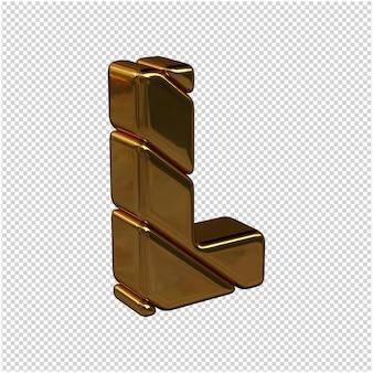 Litery ze sztabek złota zwrócone w prawo na przezroczystym tle. 3d wielka litera l