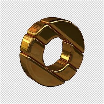 Litery ze sztabek złota zwrócone w prawo na przezroczystym tle. 3d wielka litera o