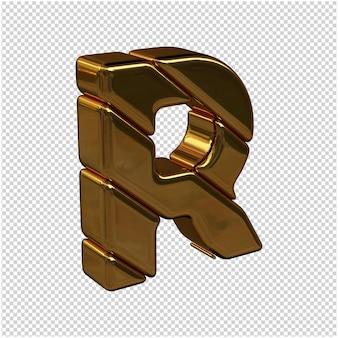 Litery ze sztabek złota zwrócone w prawo na przezroczystym tle. 3d wielka litera r
