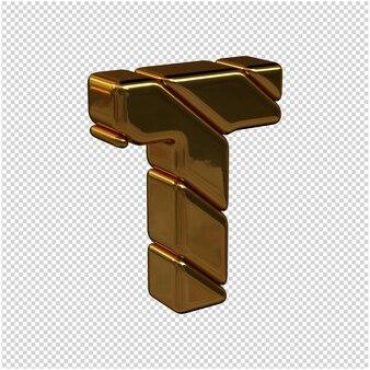 Litery ze sztabek złota zwrócone w prawo na przezroczystym tle. 3d wielka litera t