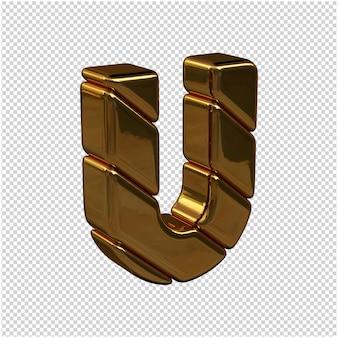 Litery ze sztabek złota zwrócone w prawo na przezroczystym tle. 3d wielka litera u