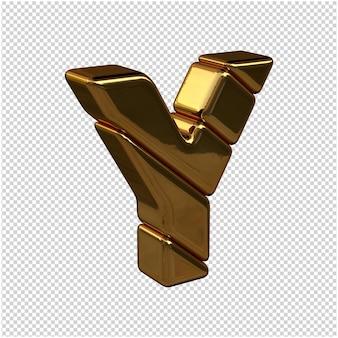 Litery ze sztabek złota zwrócone w prawo na przezroczystym tle. 3d wielka litera y
