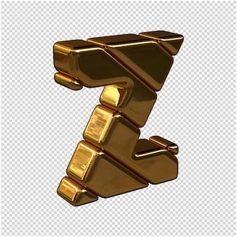 Litery ze sztabek złota zwrócone w prawo na przezroczystym tle. 3d wielka litera z