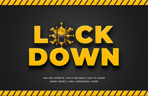 Lockdown corona virus 3d style tekstu efekt
