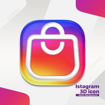 Logo 3d instagram dla mediów społecznościowych