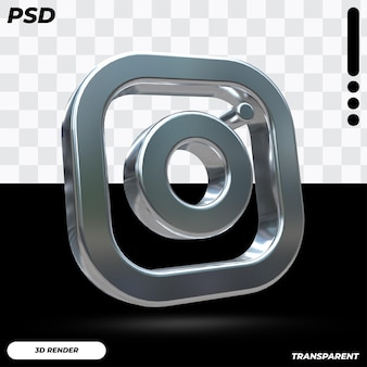Logo 3d instagram z metalicznym kolorem