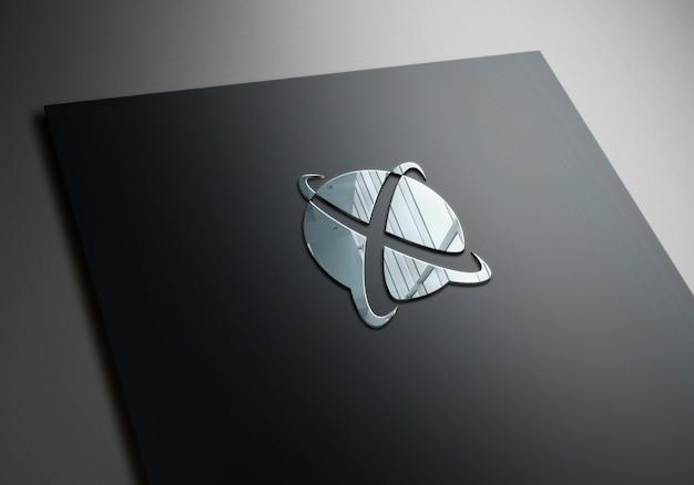 Logo 3d makieta srebrne efekty