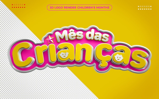 Logo 3d render miesiąc dzieci różowy z żółtym