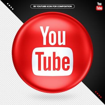 Logo 3d z czerwoną elipsą youtube play