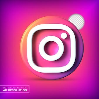 Logo Aplikacji Instagram 3d Na Białym Tle Premium Psd