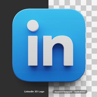 Logo aplikacji linkedin w okrągłym kwadratowym stylu ikony projektu 3d na białym tle