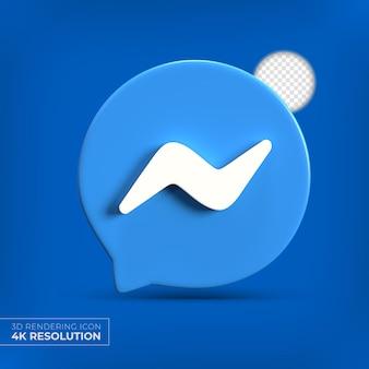 Logo aplikacji messenger 3d na białym tle