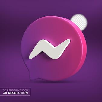 Logo Aplikacji Messenger 3d Na Białym Tle Premium Psd